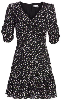 Tanya Taylor Pansy Puff-Sleeve Flounce Mini Dress