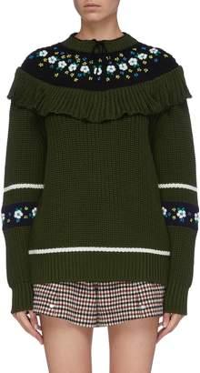 Miu Miu Floral embroidered bib virgin wool sweater