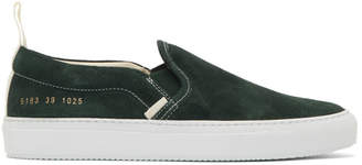 Common Projects Green Suede Slip-On Sneakers