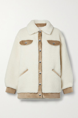 FAZ NOT FUR Velvet Frost Corduroy-trimmed Wool And Cotton-blend Faux Shearling Jacket - Ivory
