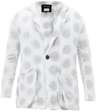 Edward Cuming - X Pattern Chineso Polka-dot Cotton-gauze Blazer - Grey White