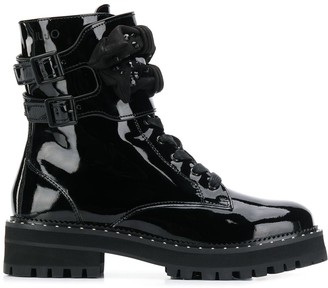 Liu Jo bow and studs lace-up boots