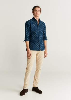 MANGO MAN - Slim fit flannel printed shirt dark navy - XXS - Men