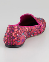 Brian Atwood Claudelle Moroccan-Print Smoking Slipper, Pink-Multi