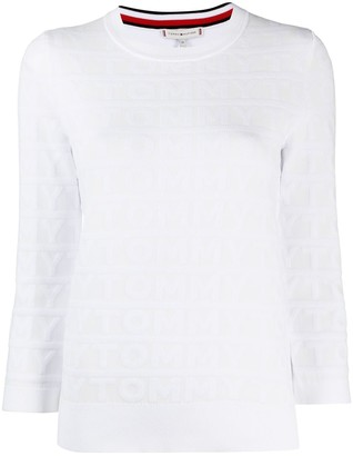 Tommy Hilfiger Logo-Pattern Crew-Neck Pullover
