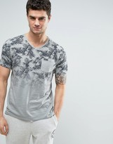 Tokyo Laundry Tropical Print Fade Out V Neck T-Shirt