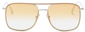 Victoria Beckham Aviator Metal And Leather-trimmed Sunglasses - Light Brown