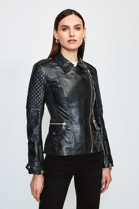 Karen Millen Chunky Zip Quilted Leather Biker Jacket