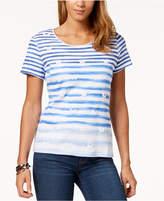 Karen Scott Puffed-Print Striped T-Shirt, Created for Macy's
