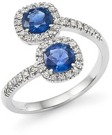 Bloomingdale's Diamond and Sapphire Two-Stone Halo Wrap Ring in 14K White Gold