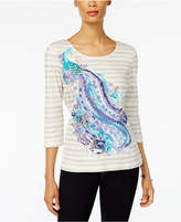 Karen Scott Cotton Embellished Printed T-Shirt, Created for Macy's
