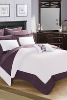 Bathilda Hotel Collection Modern Two-Tone Reversible 10-Piece Bed In a Bag Comforter Set - Plum