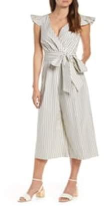 1901 Stripe Faux Wrap Jumpsuit