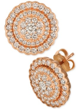 LeVian Le Vian Strawberry & Nude Diamond Circle Cluster Stud Earrings (1-3/8 ct. t.w.) in 14k Rose Gold