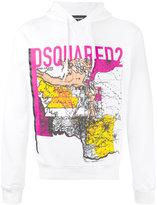 DSQUARED2 map print hooded sweatshirt - men - Cotton - S