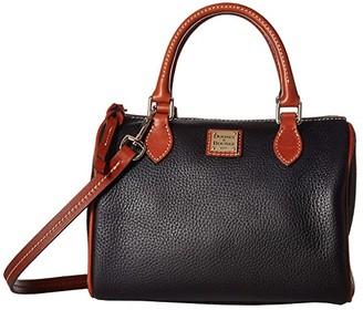 Dooney & Bourke Pebble Trudy Satchel (Black/Tan Trim) Handbags