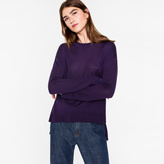Paul Smith Women's Oversized Purple Wool Sweater With 'Cycle Stripe' Cuffs
