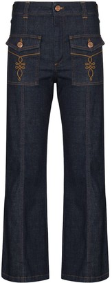 See by Chloe Pocket Detail Kick Flared Jeans