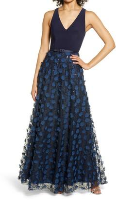 Eliza J Belted Floral Gown