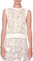 Valentino Sleeveless Lace-Front Knit Top, Ivory