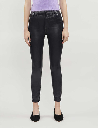 J Brand Alana cropped high-rise skinny coated jeans