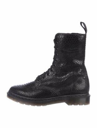 Dr. Martens Embossed Suede Combat Boots Black