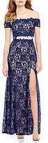 Sequin Hearts Off-the-Shoulder Two-Piece Glitter Lace Scalloped-Trim Long Dress