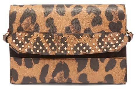 Christian Louboutin Loubiblues Leopard Print Leather Clutch Bag - Womens - Leopard