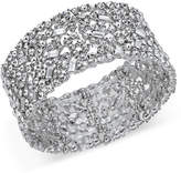 INC International Concepts I.n.c. Silver-Tone Wide Crystal Cluster Stretch Bracelet, Created for Macy's