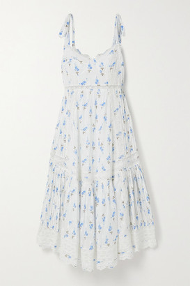 LoveShackFancy Antonella Crochet-trimmed Floral-print Broderie Anglaise Cotton Midi Dress - White