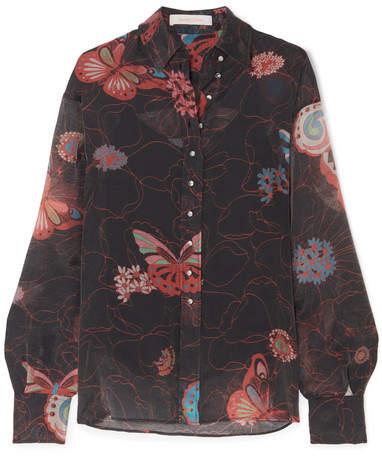 See by Chloe Printed Chiffon Shirt - Black