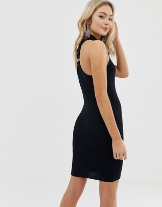 Asos DESIGN high neck mini bodycon dress with ring back