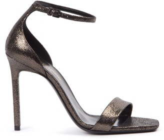 Saint Laurent Metallic Black Leather Amber Sandals