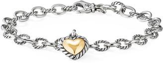 David Yurman Cable Cookie Classic Heart Bracelet w/ 18k Gold, Size S-L