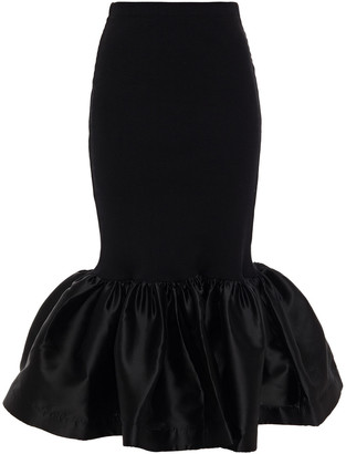 Marques Almeida Fluted Ribbed Organic Cotton-blend Jersey And Taffeta Midi Skirt
