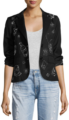 Libertine Party Skulls Gabardine Blazer, Black