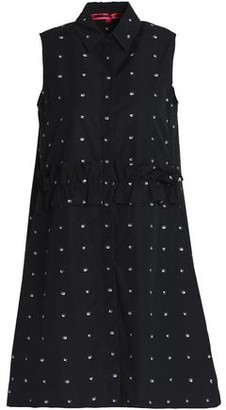 McQ Ruffle-trimmed Embroidered Cotton Mini Dress