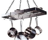 Rogar Rectangular Hanging Pot Rack In White and Brass - With Grid