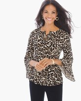 Chico's Cheetah Lace-up Flared-Sleeve Top