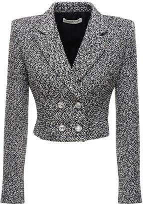 Alessandra Rich Sequin Tweed Crop Double Breast Jacket