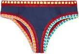 Kiini Tasmin Crochet-trimmed Bikini Briefs - Storm blue