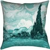 ArtVerse VAN020P1414D Vincent Van Gogh Teal Wheatfield with Cypresses Pillow-Poly Twill