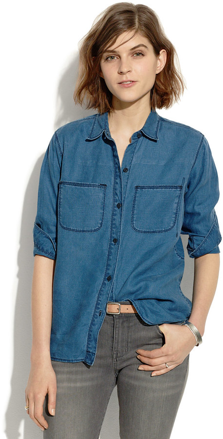 Madewell Indigo Linen Ex-Boyfriend Shirt