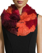 Jocelyn Chevron Sheared Rabbit Fur Infinity Scarf, Red