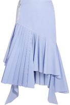 Off-White Ruffled Striped Cotton Midi Skirt - Light blue