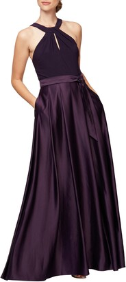 Alex Evenings Mix Media Halter Gown