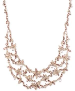 "Givenchy Crystal Floral Bib Necklace, 16"" + 3"" extender"