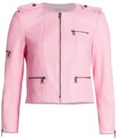 Alice + Olivia Cam Leather Express Zipper Biker Jacket