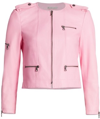 Alice + Olivia Cam Leather Express Zipper Biker Jacket