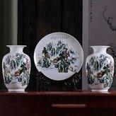 JHDH2 Vases ornaments porcelain decorated in Jingdezhen Ceramic Disc kits decorations black horse kits, 3-piece set